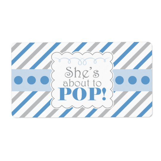 Blue  & Grey She's About to POP Water Bottle Label Shipping Label