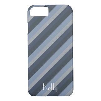 Blue Grey Stripe Monogram Name Customize iPhone 8/7 Case
