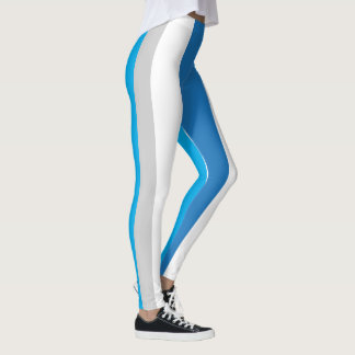 Blue/Grey Striped Leggings 1