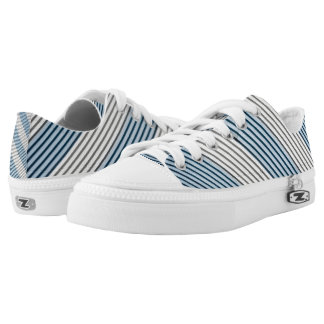 Blue & Grey Stripes Low Tops