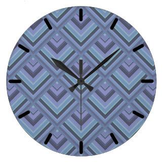 Blue-grey stripes scale pattern large clock