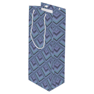 Blue-grey stripes scale pattern wine gift bag