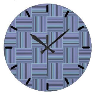Blue-grey stripes weave pattern large clock