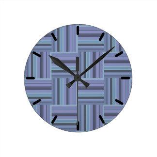 Blue-grey stripes weave pattern round clock