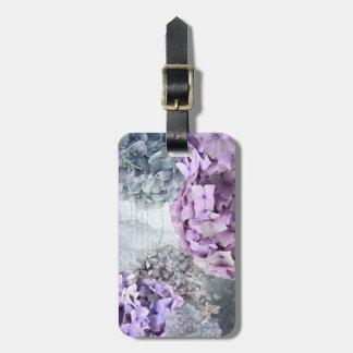 Blue Grey Vintage floral Hydrangea Flower pattern Luggage Tag