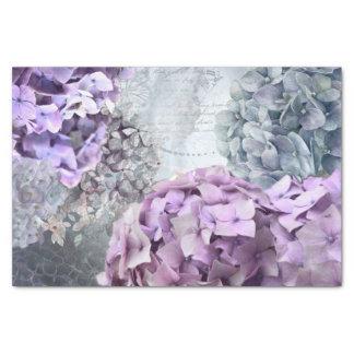 Blue Grey Vintage floral Hydrangea Flower pattern Tissue Paper