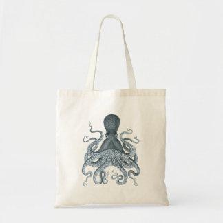 Blue Grey Vintage Octopus Illustration Budget Tote Bag
