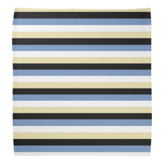 Blue/Grey, White, Beige and Black Stripes Bandana
