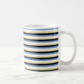 Blue/Grey, White, Beige and Black Stripes Coffee Mug