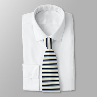 Blue/Grey, White, Beige and Black Stripes Tie