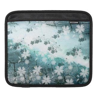 blue grey white black floral Mac Laptop sleeve iPad Sleeves