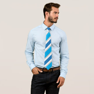 Blue Grey White Striped Conservative Power Tie
