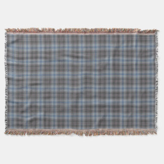 Blue Grey White Tartan Plaid Throw Blanket