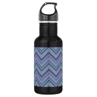 Blue-grey zigzag stripes 532 ml water bottle