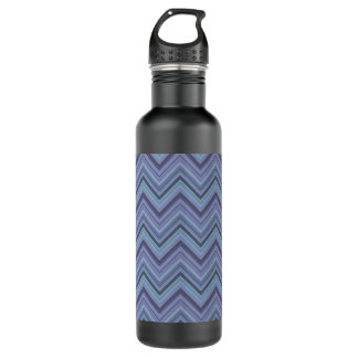 Blue-grey zigzag stripes 710 ml water bottle