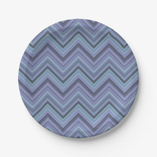 Blue-grey zigzag stripes 7 inch paper plate