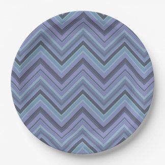 Blue-grey zigzag stripes 9 inch paper plate