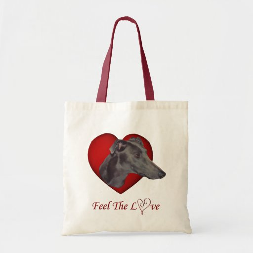 Blue Greyhound Love Heart Dog Tote Bag