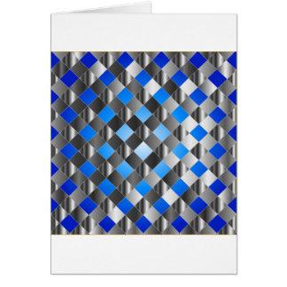 Blue grid background greeting card