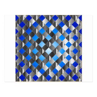 Blue grid background postcard