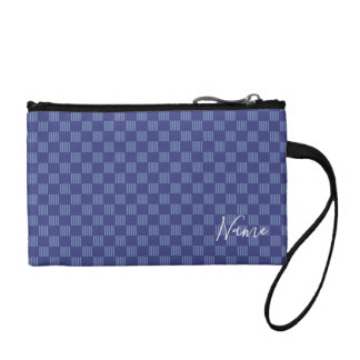 Blue grid patternv coin purse
