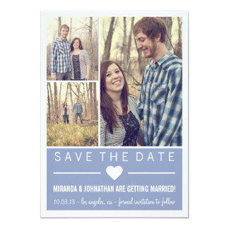 Blue Grid Photo Save The Date Announcements