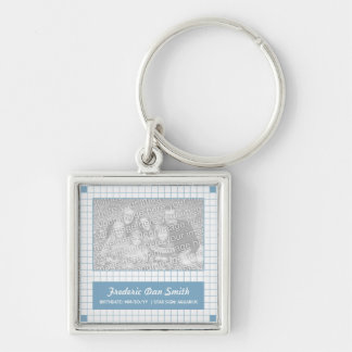 Blue Grid Photo Silver-Colored Square Key Ring