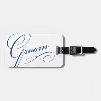 Blue groom elegant honeymoon trip luggage tag