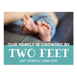 Blue Growing by Two Feet Stripes Adoption New Baby Postcard
