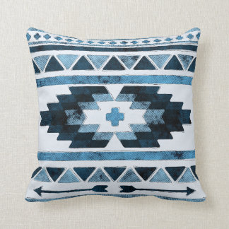 Blue Grunge Aztec Tribal Cushion
