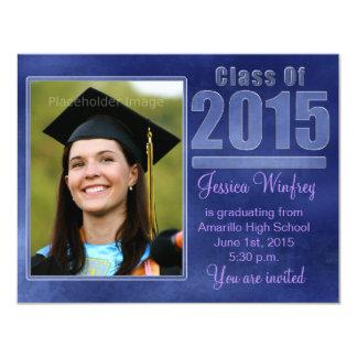 Blue Grunge Class of 2015 Graduation Photo 11 Cm X 14 Cm Invitation Card