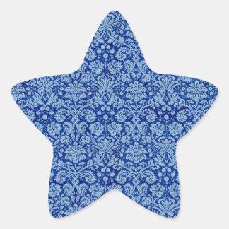 Blue Grunge Damask Pattern Star Sticker