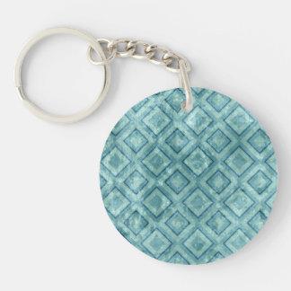 Blue Grunge Diamonds Single-Sided Round Acrylic Key Ring
