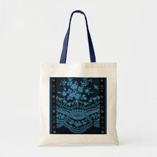 Blue Grunge Lace Tote Bags