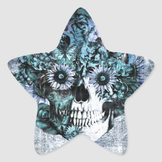 Blue grunge ohm skull with roses star sticker