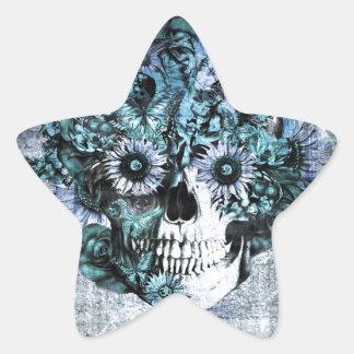 Blue grunge ohm sunflower skull star sticker