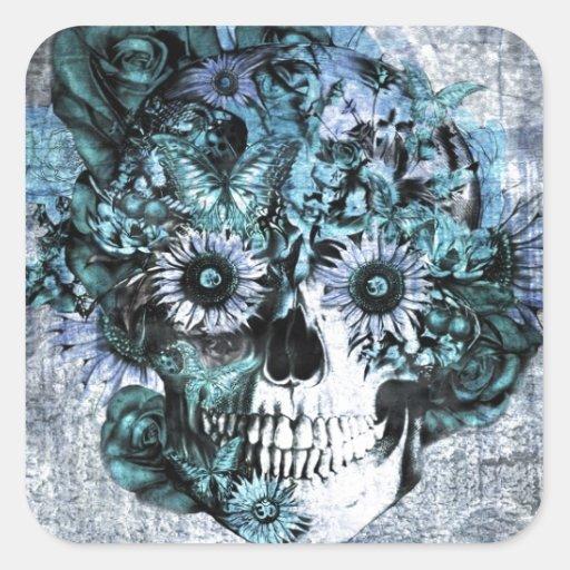 Blue grunge ohm sunflower skull sticker