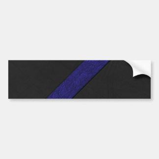 Blue grunge paper stripe black leather bumper sticker