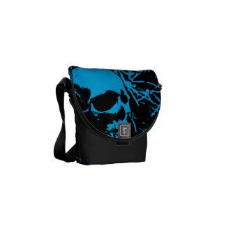 Blue Grunge Skulls Messenger Bags