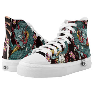 Blue Grunge Splash Dragon Tattoo Cherry Blossom High Tops