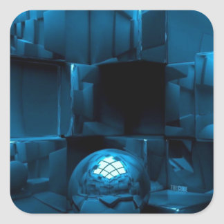 Blue grunge square sticker