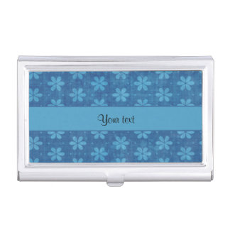 Blue Grungy Flowers Business Card Cases