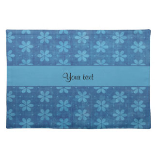 Blue Grungy Flowers Place Mat