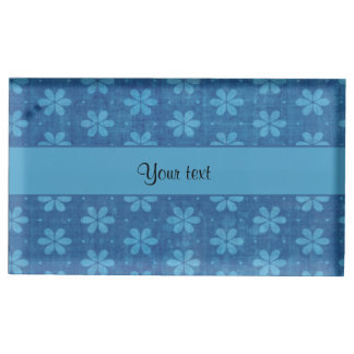 Blue Grungy Flowers Table Card Holder