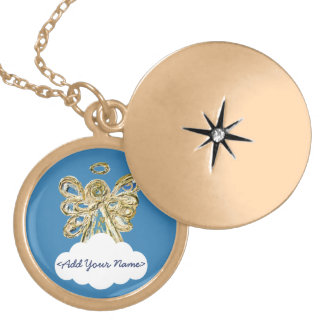 Blue Guardian Angel Series Cloud Custom Locket