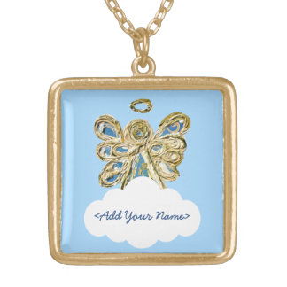 Blue Guardian Angel Series Cloud Custom Necklace