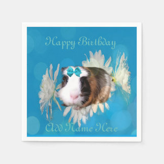 Blue Guinea Pig Flowers Birthday Logo, Disposable Napkins