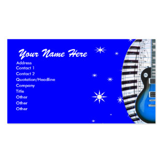 Blue Guitar Piano Keyboard Stars Business Card