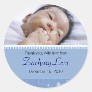 Blue Gumdrop Baby Message Classic Round Sticker