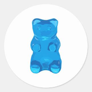 Blue Gummybear Illustration Classic Round Sticker